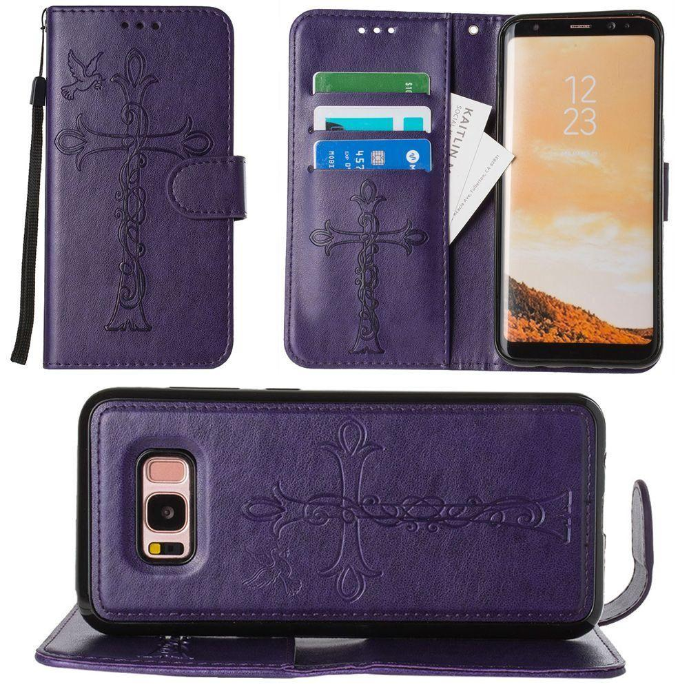 - Embossed Cross and Dove Wallet with Detachable Matching Slim Case and Wristlet, Purple for Galaxy S8 Plus