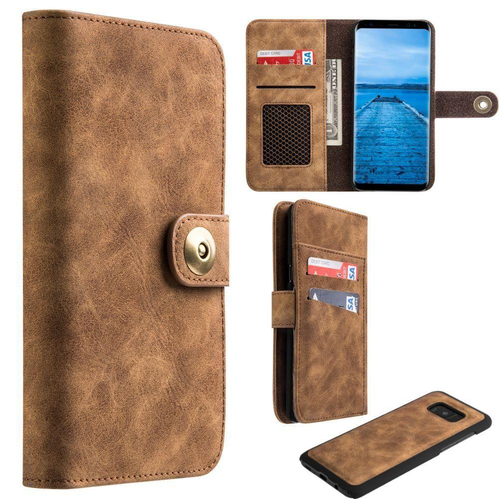 - Luxury Button Snap Soft Leather Wallet with Matching Removable Phone Case, Brown for Galaxy S8 Plus