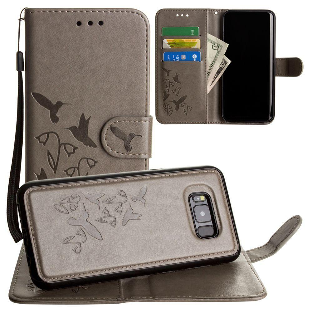 - Embossed Humming Bird Design Wallet Case with Matching Removable Case and Wristlet, Gray for Galaxy S8 Plus