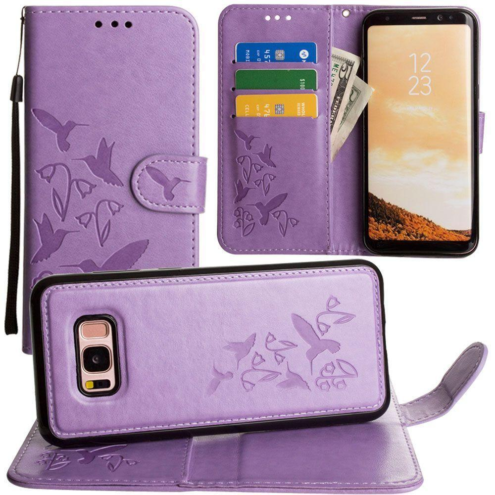 - Embossed Humming Bird Design Wallet Case with Matching Removable Case and Wristlet, Lavender for Galaxy S8 Plus