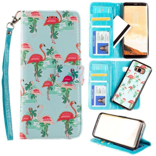 Samsung Galaxy S8 Plus - Flamingo Couple Wallet with Matching Detachable Slim Case and Wristlet, Pink/Blue for Galaxy S8 Plus