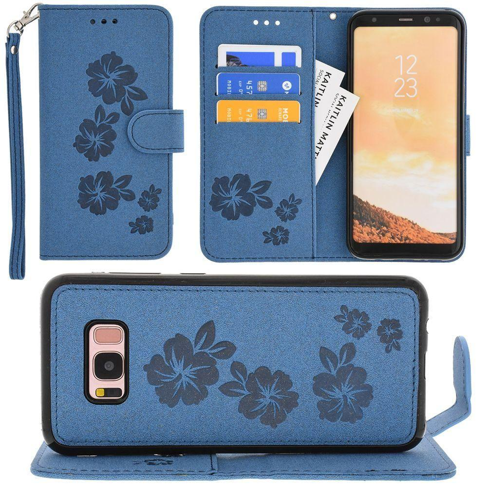 - Embossed Glitter Hawaiian Flower Wallet with Detachable Matching Slim Case and Wristlet, Navy Blue for Galaxy S8 Plus