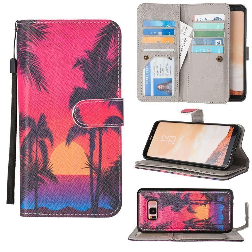- Beach Sunset Multi-Card Wallet with Matching Detachable Slim Case and Wristlet, Multi-Color for Galaxy S8 Plus