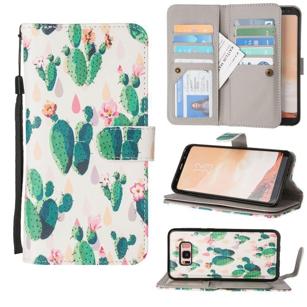 - Blooming Cactus Multi-Card Wallet with Matching Detachable Slim Case and Wristlet, Green/White for Galaxy S8 Plus
