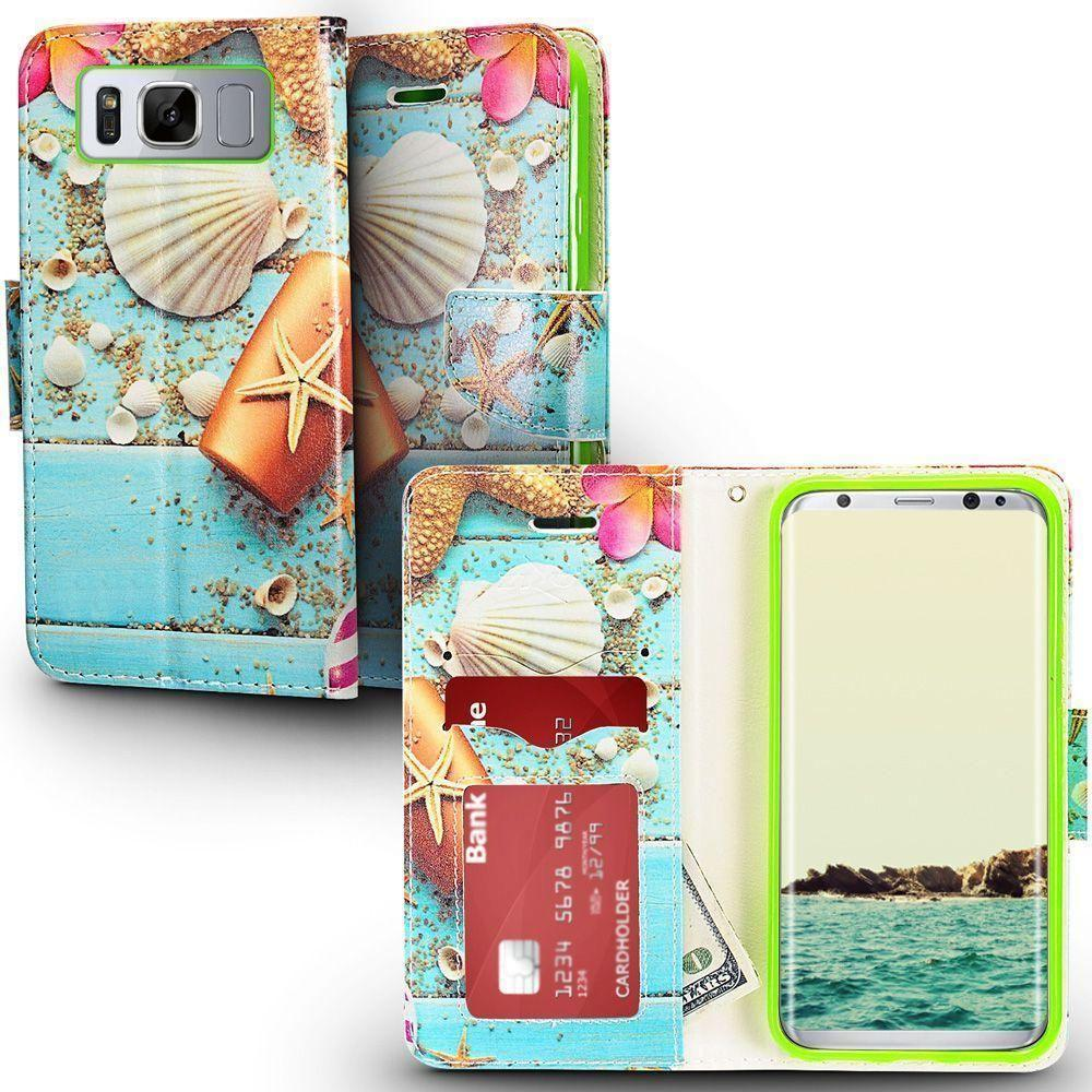- Sea Shell Design Shimmering Folding Phone Wallet, Multi-Color for Galaxy S8 Plus