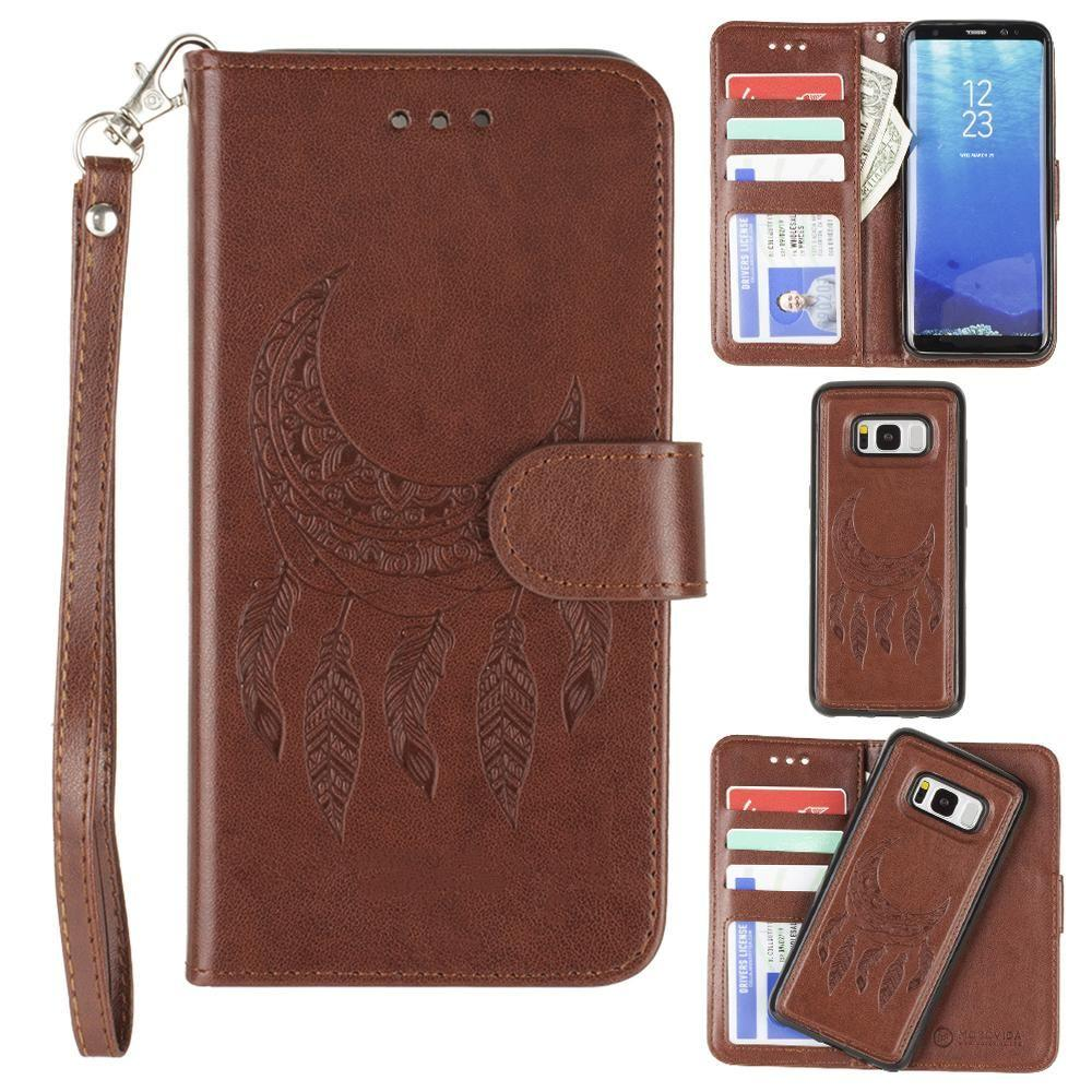 - Embossed Moon Dream Catcher Design Wallet Case with Detachable Matching Case and Wristlet, Brown for Galaxy S8 Plus