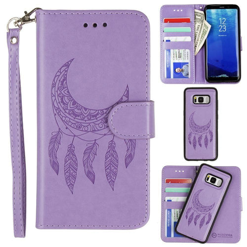 Samsung Galaxy S8 Plus - Embossed Moon Dream Catcher Design Wallet Case with Detachable Matching Case and Wristlet, Lavender for Galaxy S8 Plus