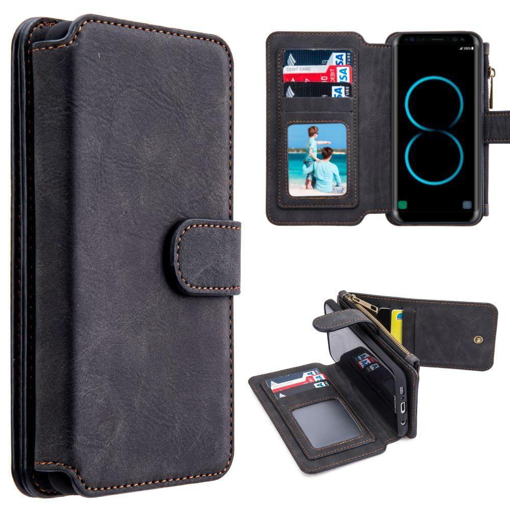 - Luxury Wallet with Removable Case and Flap Card Holder, Black for Galaxy S8 Plus