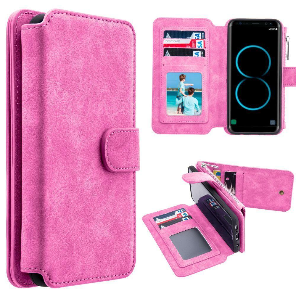 - Luxury Wallet with Removable Case and Flap Card Holder, Pink for Galaxy S8 Plus