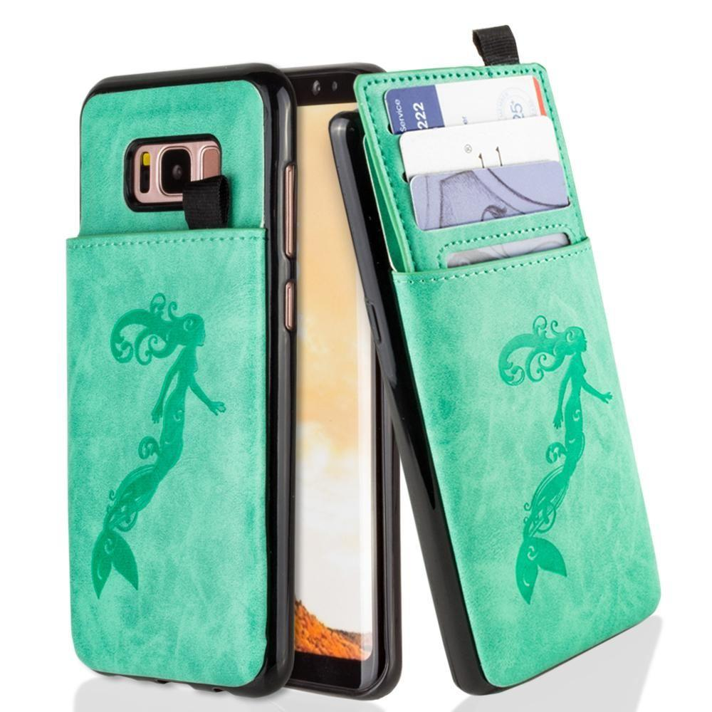 - Embossed Mermaid Leather Case with Pull-Out Card Slot Organizer, Mint for Galaxy S8 Plus