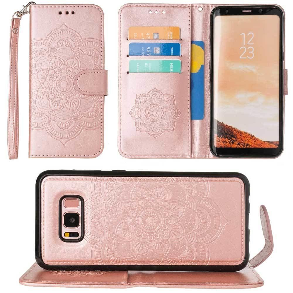 - Embossed Mandala Wallet Case with Detachable Matching Case and Wristlet, Rose Gold for Galaxy S8 Plus