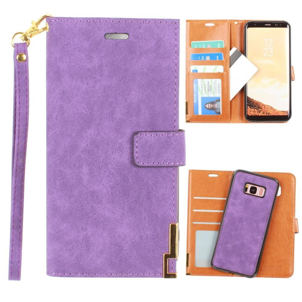 - Ultrasuede metal trimmed wallet with removable slim case and wristlet, Purple for Galaxy S8 Plus