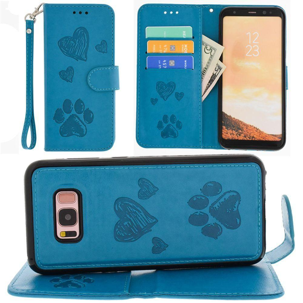 - Puppy Love Wallet with Matching Detachable Magnetic Phone Case and Wristlet, Teal for Galaxy S8 Plus