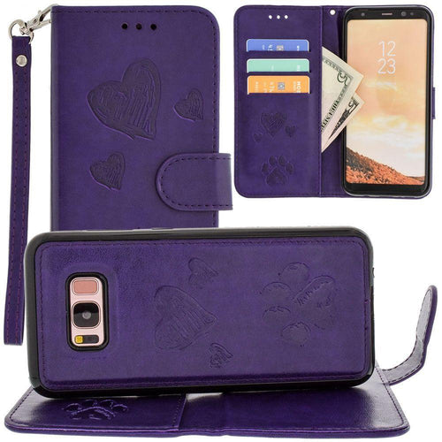 Samsung Galaxy S8 Plus - Puppy Love Wallet with Matching Detachable Magnetic Phone Case and Wristlet, Purple for Galaxy S8 Plus