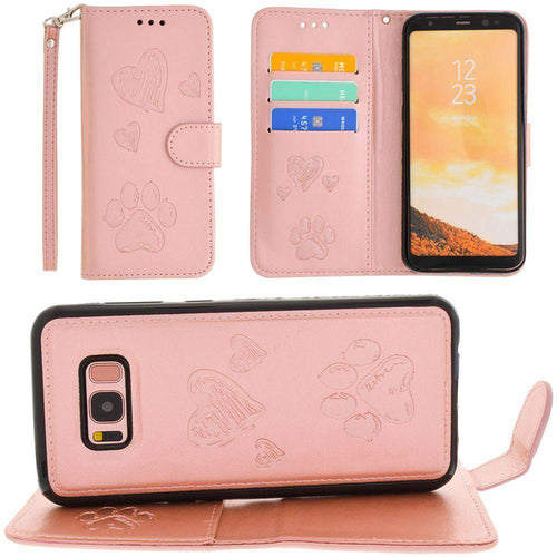 Samsung Galaxy S8 Plus - Puppy Love Wallet with Matching Detachable Magnetic Phone Case and Wristlet, Rose Gold for Galaxy S8 Plus