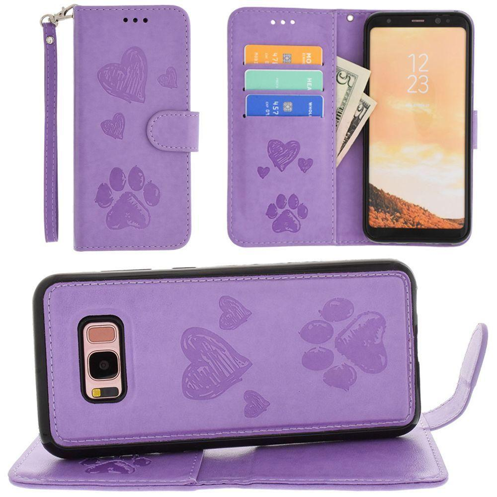 - Puppy Love Wallet with Matching Detachable Magnetic Phone Case and Wristlet, Lavender for Galaxy S8 Plus