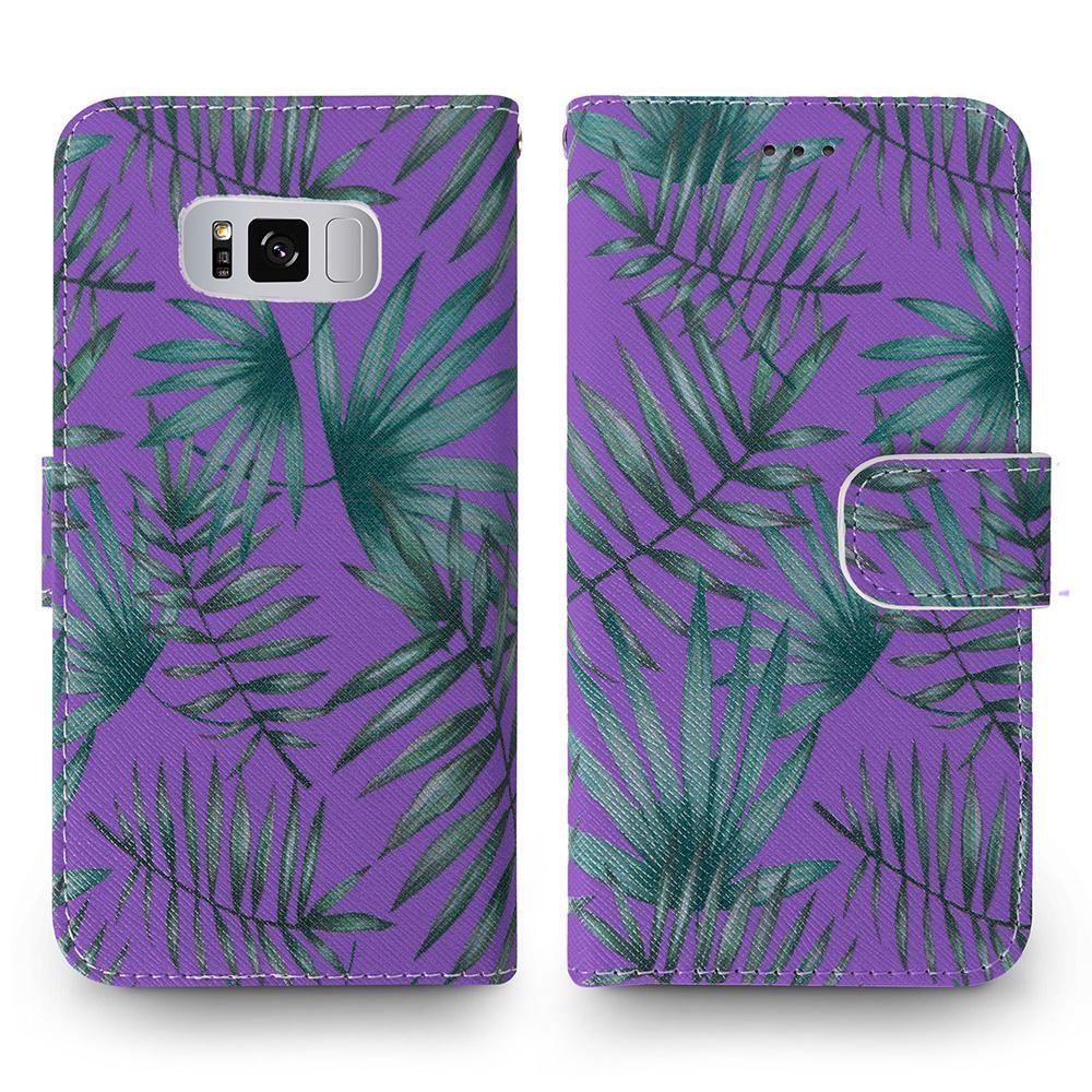 - Palm Leaves Printed Wallet with Matching Detachable Slim Case and Wristlet, Purple/Green for Galaxy S8 Plus