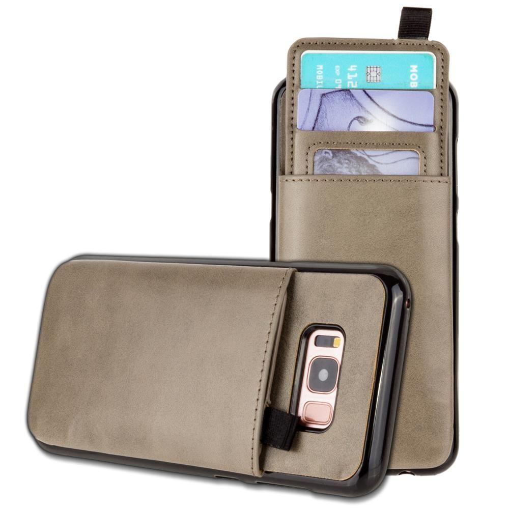- Vegan Leather Case with Pull-Out Card Slot Organizer, Gray for Galaxy S8 Plus