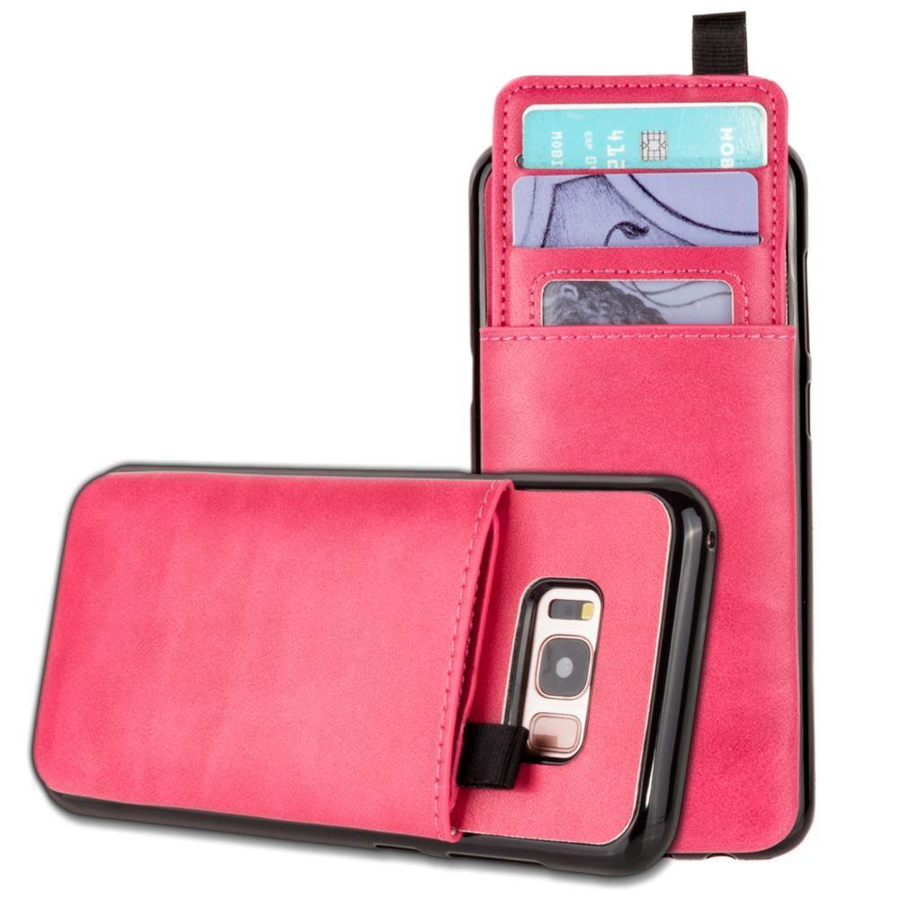 - Vegan Leather Case with Pull-Out Card Slot Organizer, Hot Pink for Galaxy S8 Plus