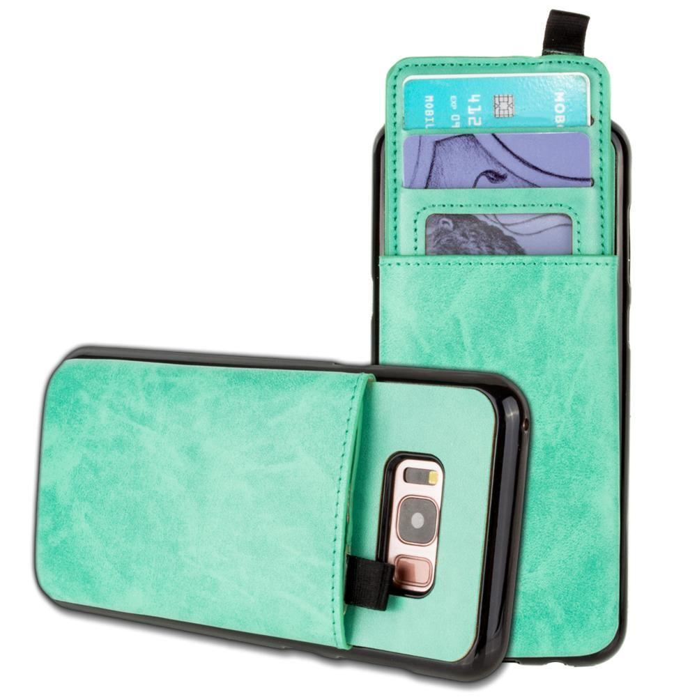 - Vegan Leather Case with Pull-Out Card Slot Organizer, Mint for Galaxy S8 Plus