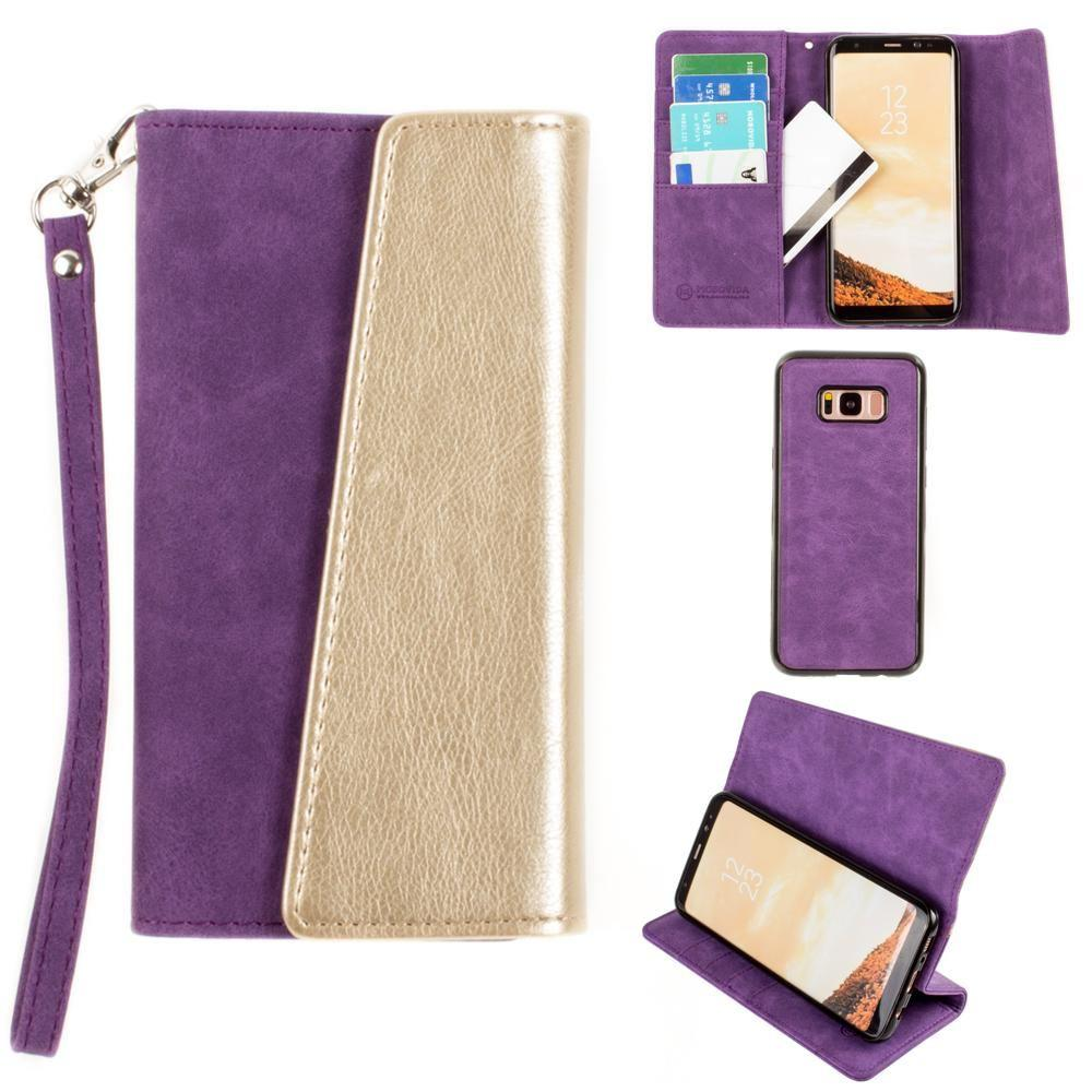 - UltraSuede Metallic Color Block Flap Wallet with Matching detachable Case and strap, Purple/Gold for Galaxy S8 Plus