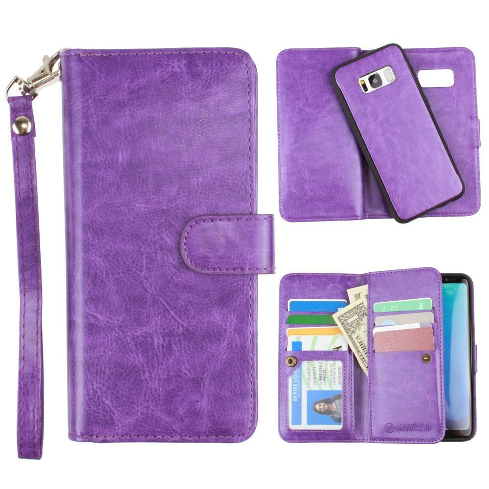 - Multi-Card Slot Wallet Case with Matching Detachable Case and Wristlet, Purple for Galaxy S8 Plus