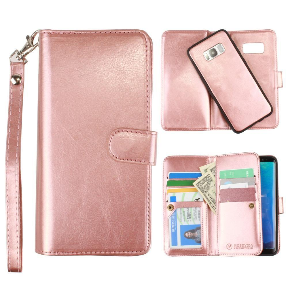 - Multi-Card Slot Wallet Case with Matching Detachable Case and Wristlet, Rose Gold for Galaxy S8 Plus