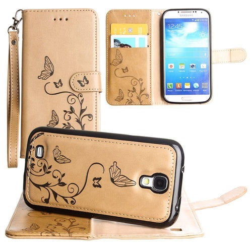 Samsung Galaxy S4 - Embossed Butterfly Design Wallet Case with Detachable Matching Case and Wristlet, Taupe for Samsung Galaxy S4