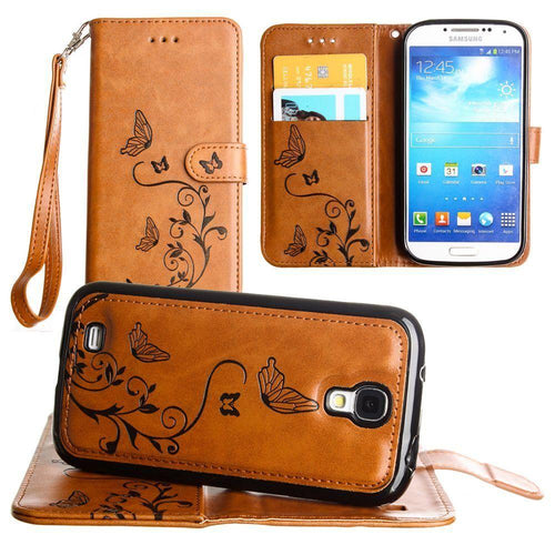 Samsung Galaxy S4 - Embossed Butterfly Design Wallet Case with Detachable Matching Case and Wristlet, Brown for Samsung Galaxy S4