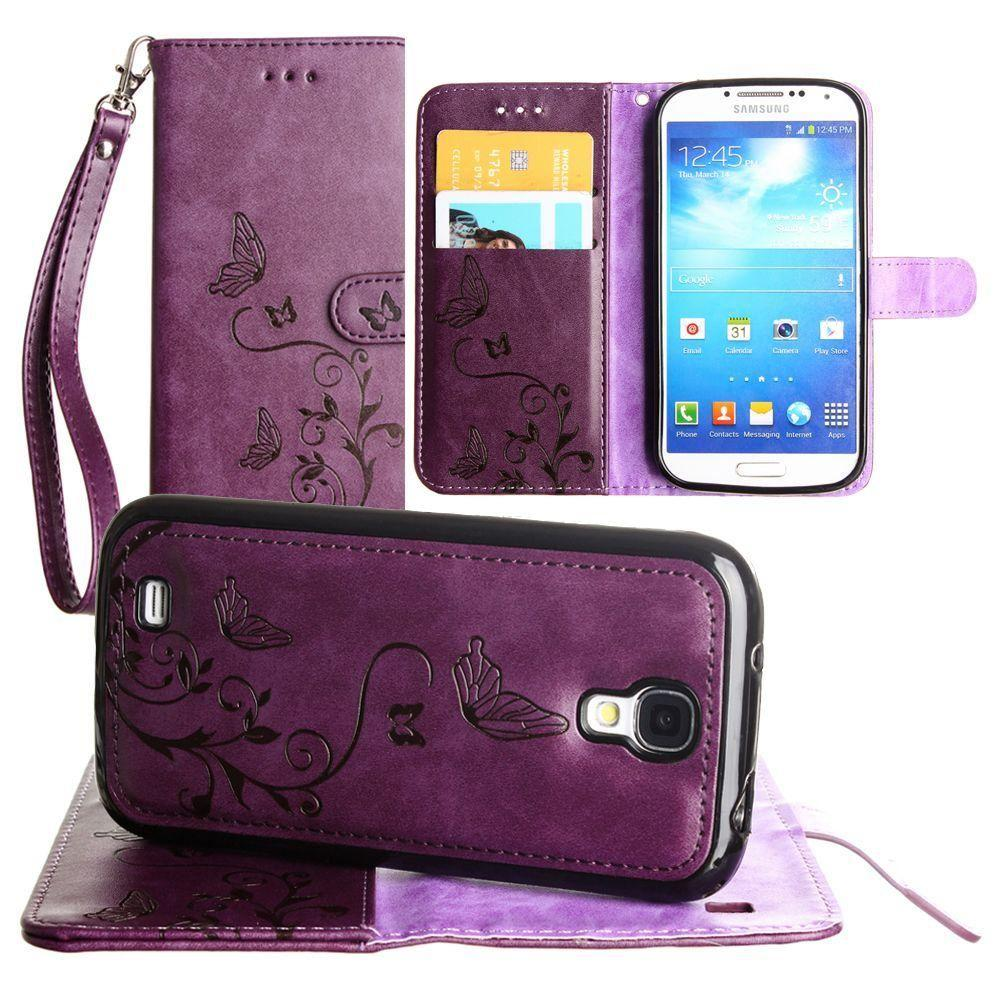 - Embossed Butterfly Design Wallet Case with Detachable Matching Case and Wristlet, Purple for Samsung Galaxy S4