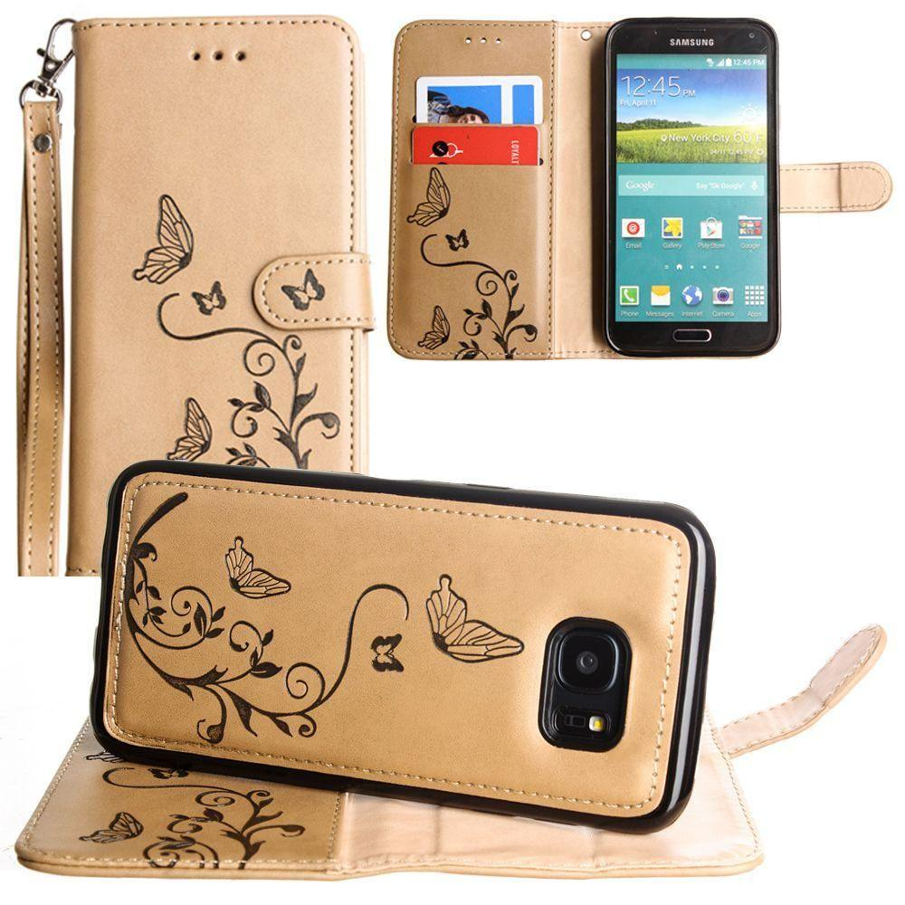 - Embossed Butterfly Design Wallet Case with Detachable Matching Case and Wristlet, Taupe for Samsung Galaxy S5