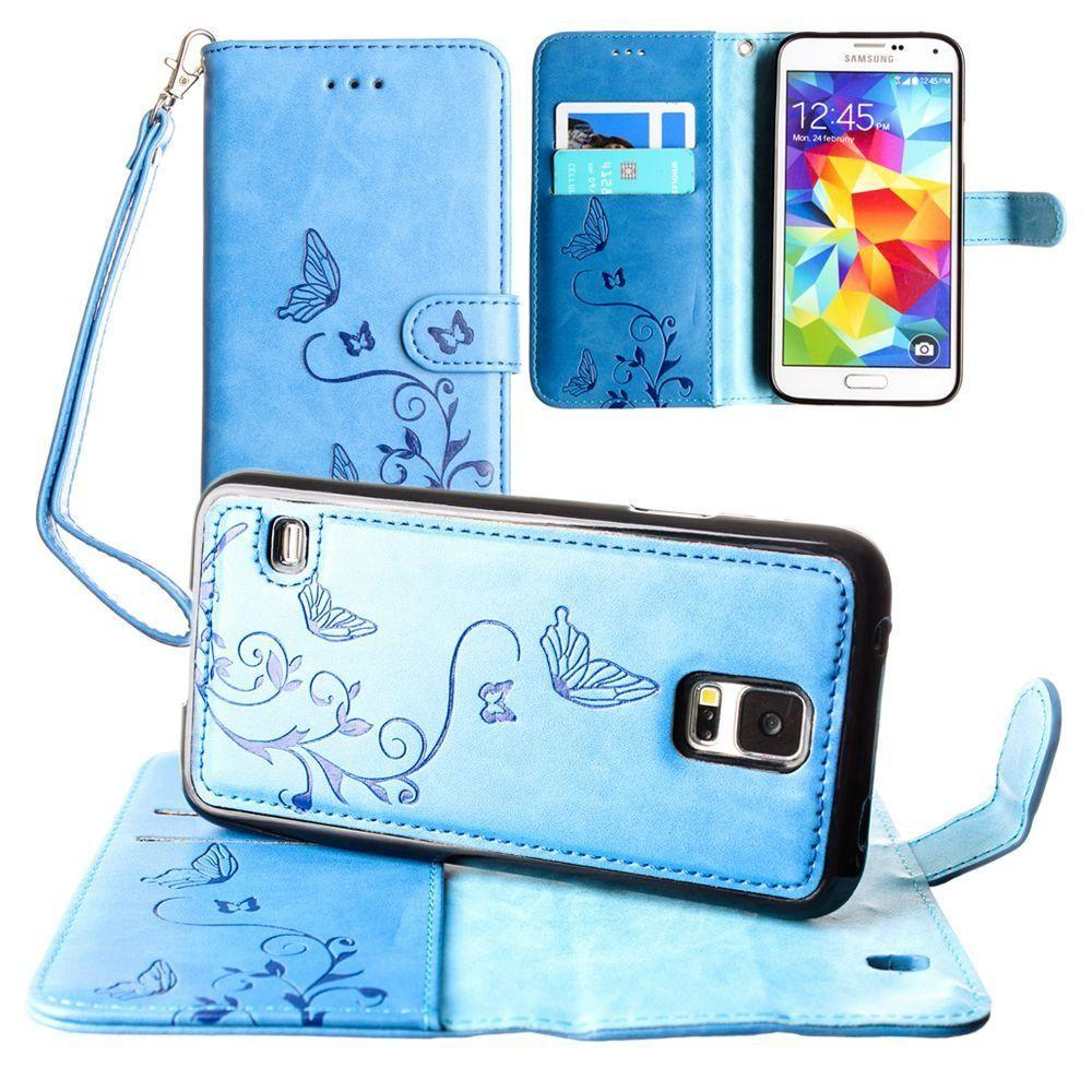- Embossed Butterfly Design Wallet Case with Detachable Matching Case and Wristlet, Teal Blue for Samsung Galaxy S5