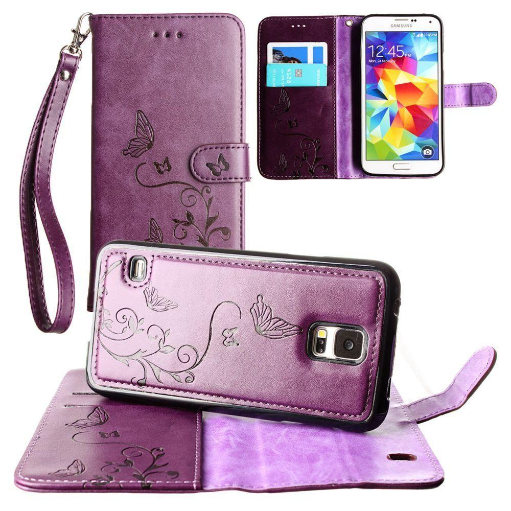- Embossed Butterfly Design Wallet Case with Detachable Matching Case and Wristlet, Purple for Samsung Galaxy S5
