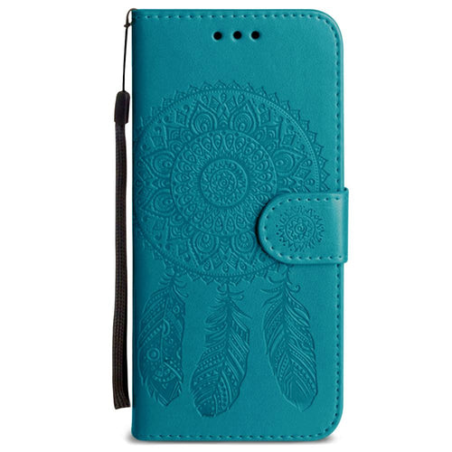 Clearance Accessories - Embossed Dream Catcher Design Wallet Case with Detachable Matching Case and Wristlet, Teal for Samsung Galaxy S5