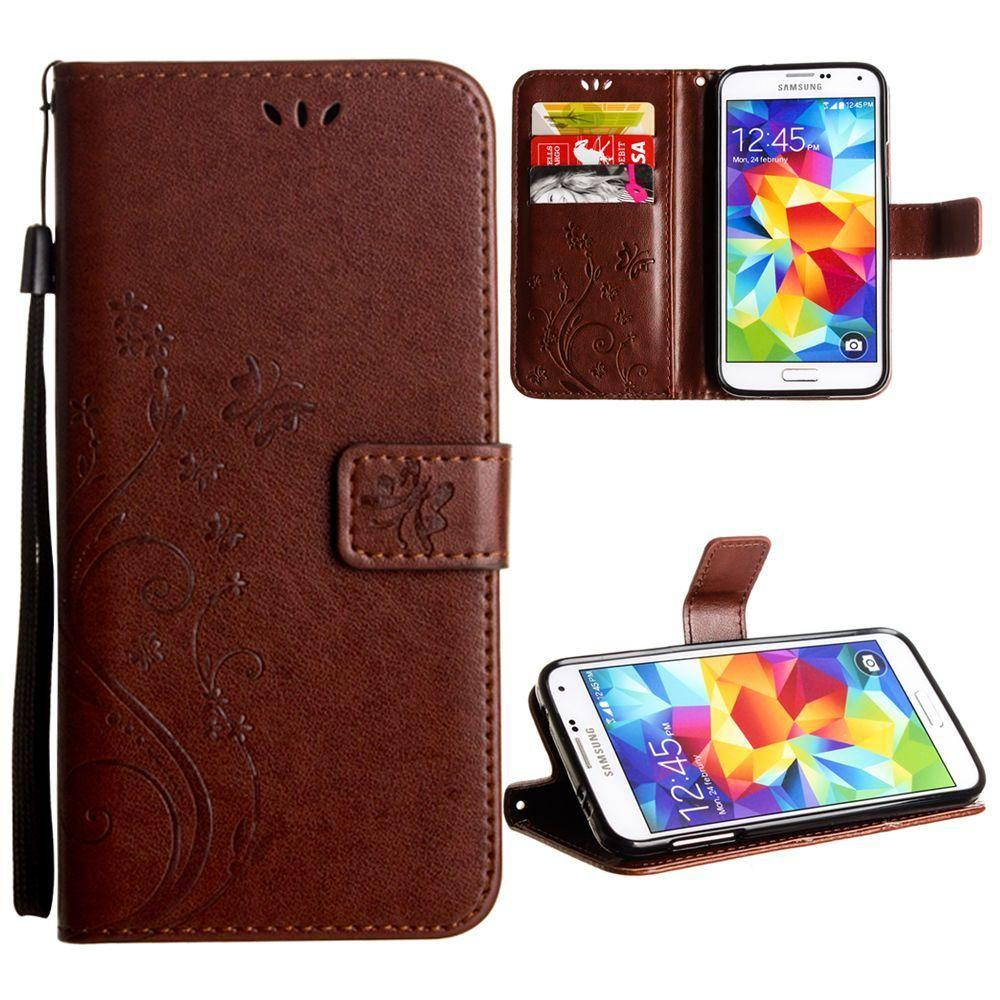 - Embossed Butterfly Design Leather Folding Wallet Case with Wristlet, Coffee for Samsung Galaxy S5