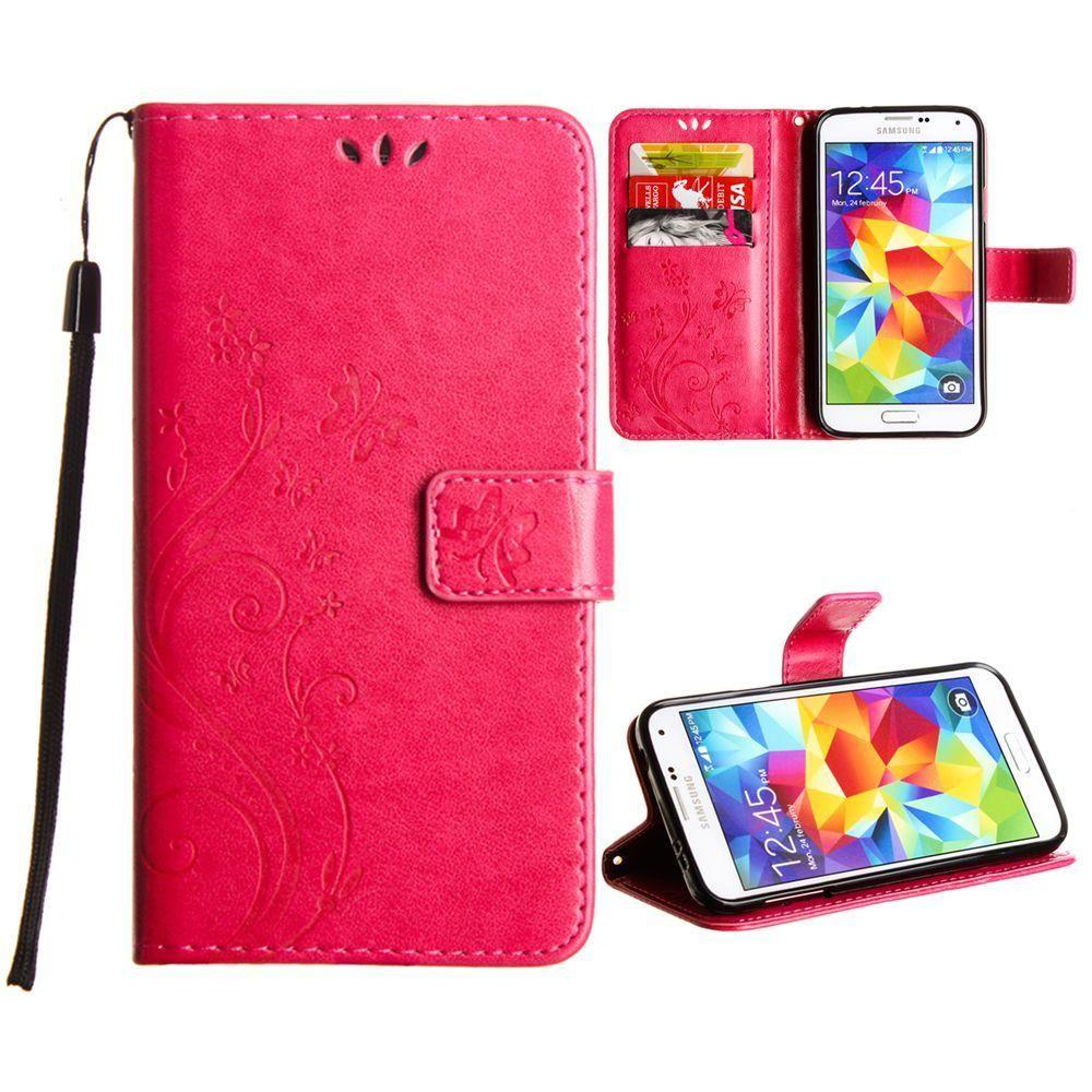 - Embossed Butterfly Design Leather Folding Wallet Case with Wristlet, Hot Pink for Samsung Galaxy S5