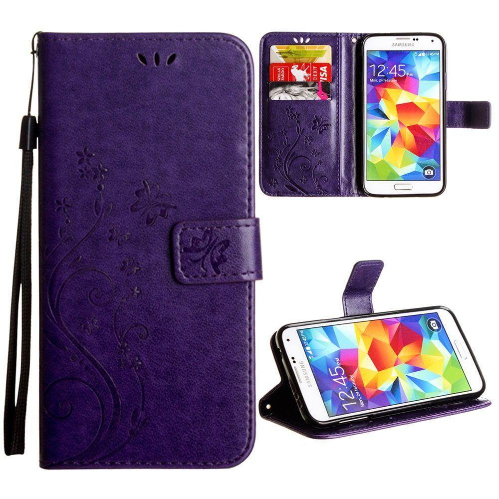 - Embossed Butterfly Design Leather Folding Wallet Case with Wristlet, Purple for Samsung Galaxy S5