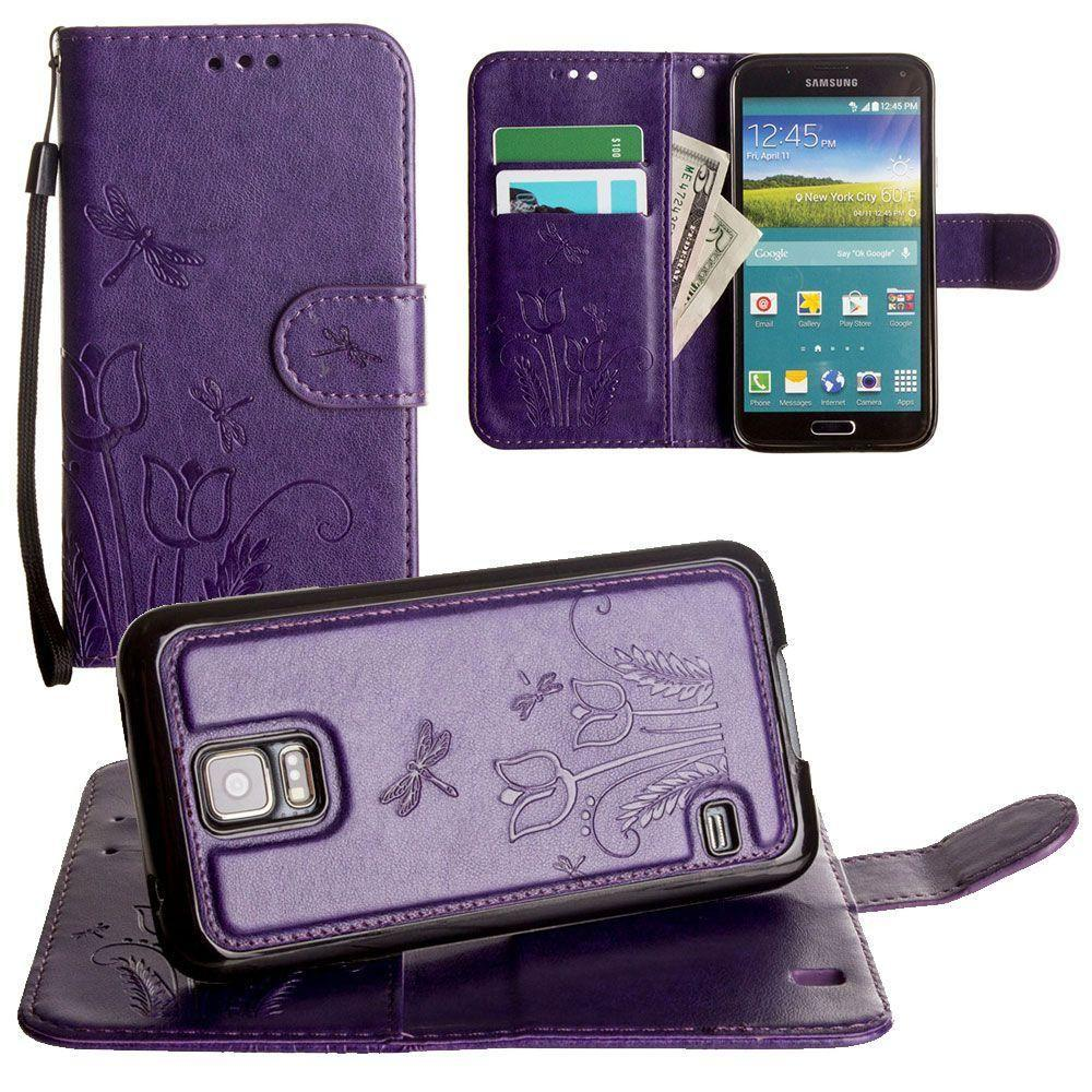 - Embossed dragonfly over tulip design wallet case with Matching detachable magnetic case and wristlet, Purple for Samsung Galaxy S5