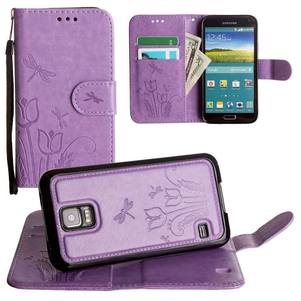 - Embossed dragonfly over tulip design wallet case with Matching detachable magnetic case and wristlet, Lavender for Samsung Galaxy S5