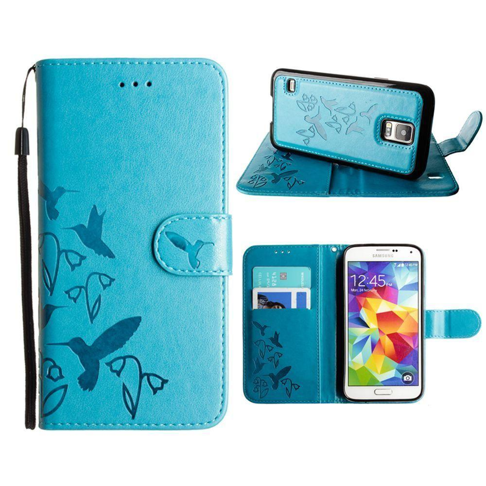 - Embossed Humming Bird Design Wallet Case with Matching Removable Case and Wristlet, Teal Blue for Samsung Galaxy S5