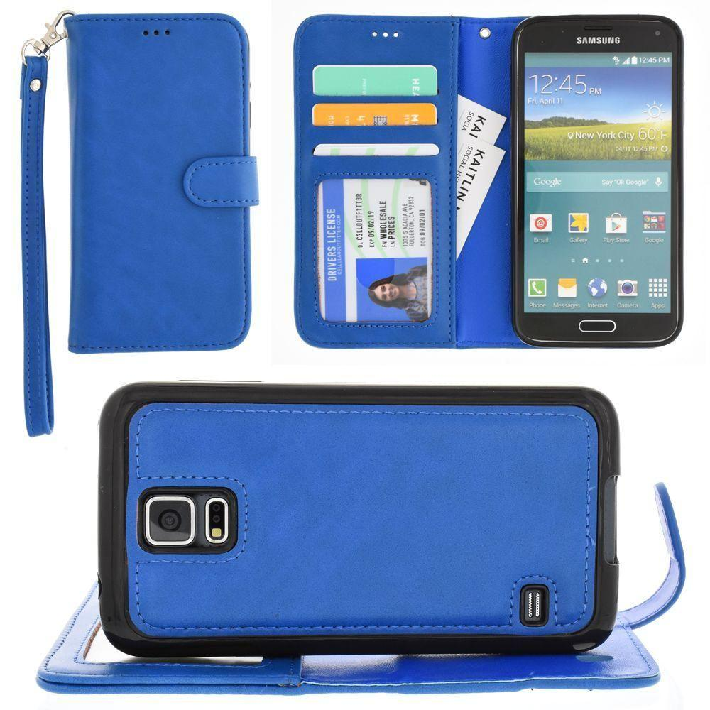 - Leather Wallet with Detachable Slim Case and Matching Wristlet, Blue for Samsung Galaxy S5