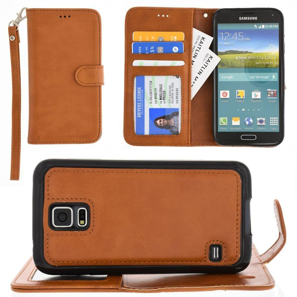 - Leather Wallet with Detachable Slim Case and Matching Wristlet, Brown for Samsung Galaxy S5