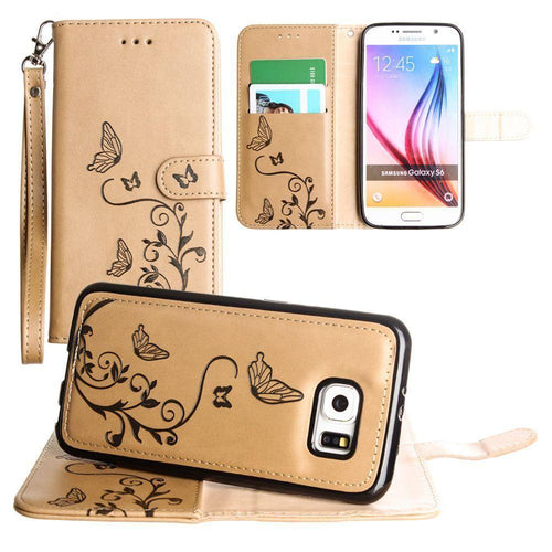 Samsung Galaxy S6 - Embossed Butterfly Design Wallet Case with Detachable Matching Case and Wristlet, Taupe for Galaxy S6