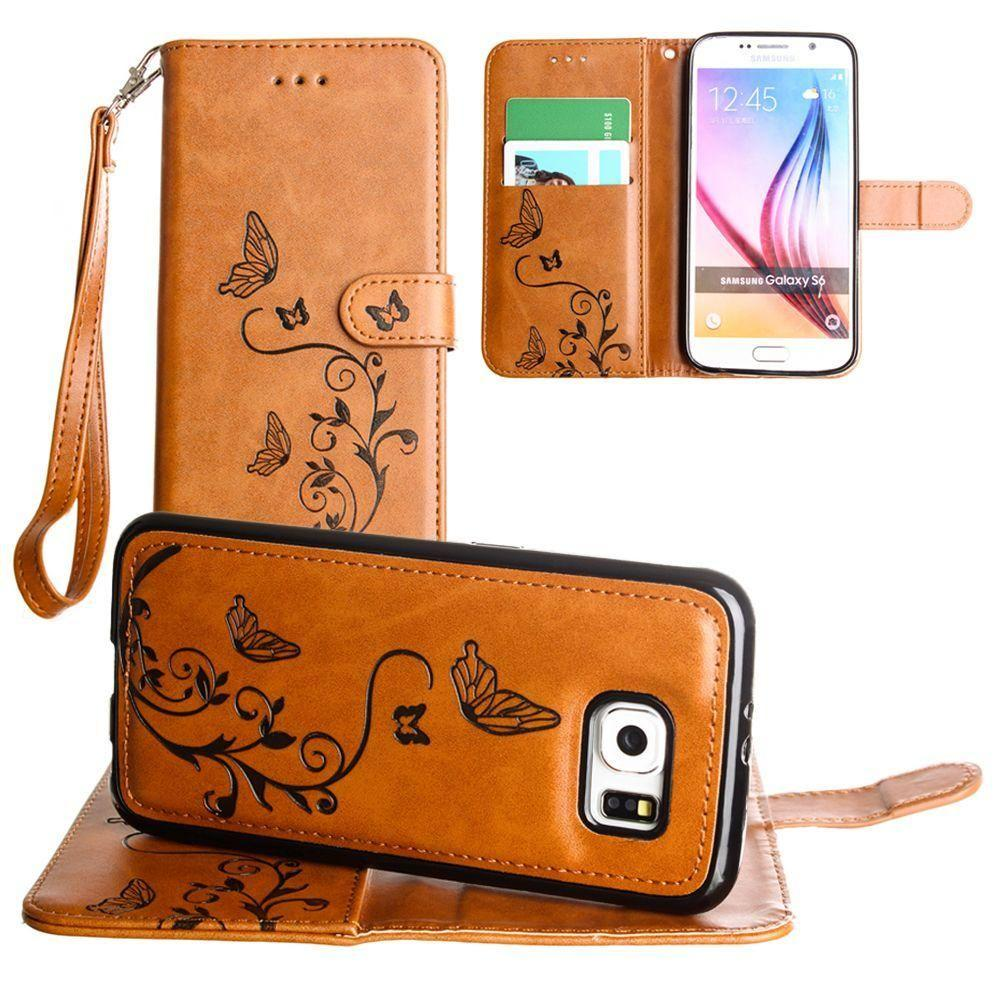 Galaxy S6 - Embossed Butterfly Design Wallet Case with Detachable Matching Case and Wristlet, Brown for Galaxy S6