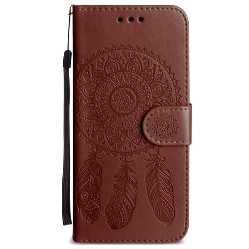Samsung Galaxy S6 - Embossed Dream Catcher Design Wallet Case with Detachable Matching Case and Wristlet, Brown for Galaxy S6