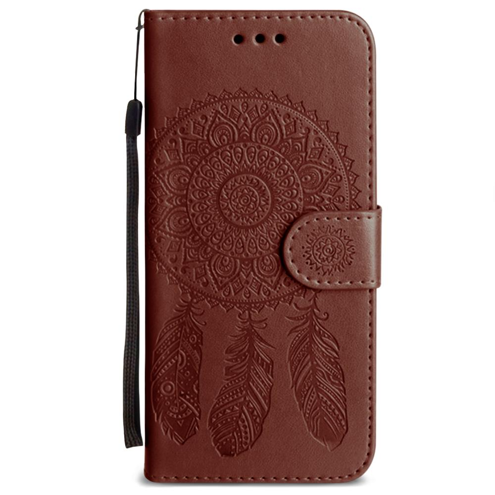 Galaxy S6 - Embossed Dream Catcher Design Wallet Case with Detachable Matching Case and Wristlet, Brown for Galaxy S6