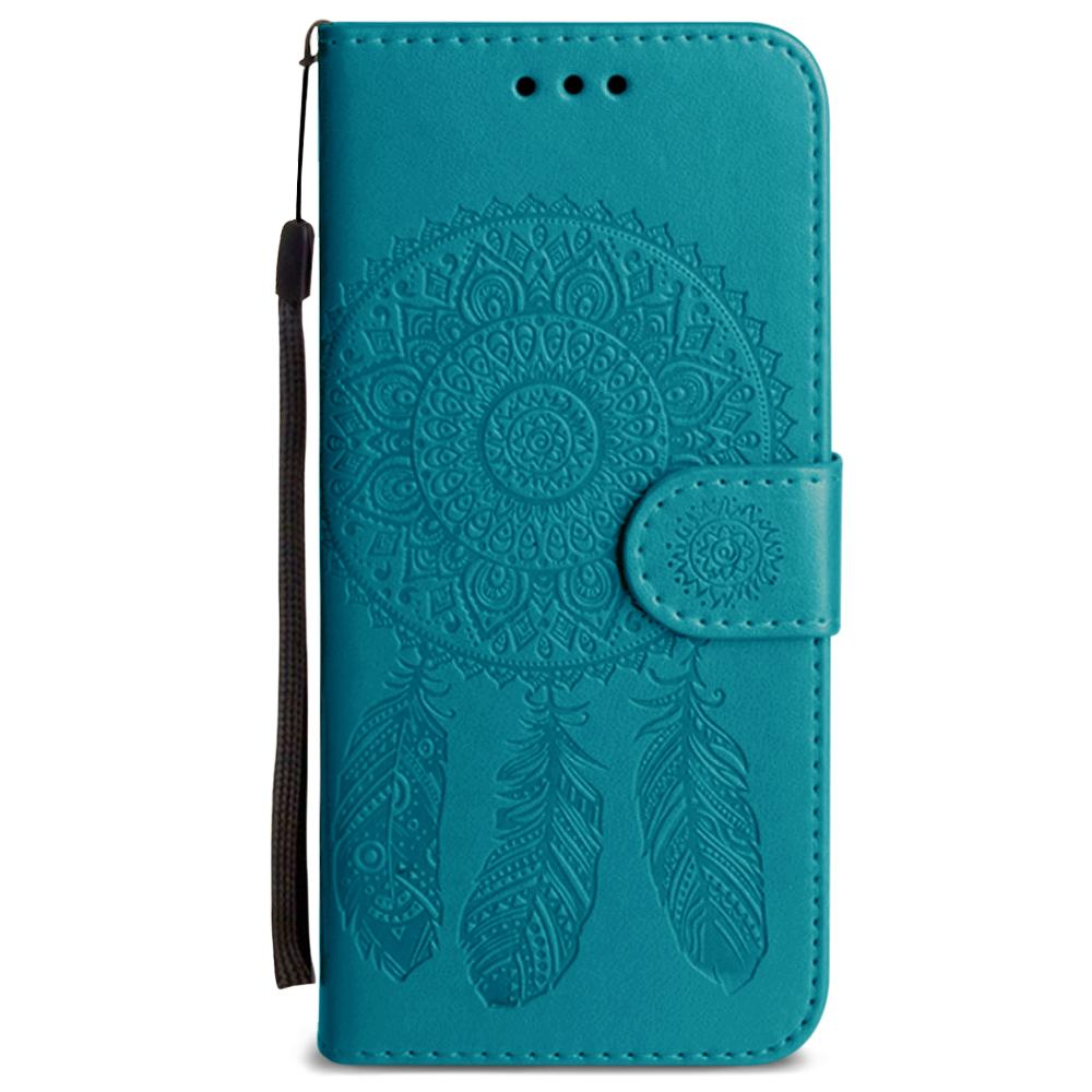 - Embossed Dream Catcher Design Wallet Case with Detachable Matching Case and Wristlet, Teal for Galaxy S6