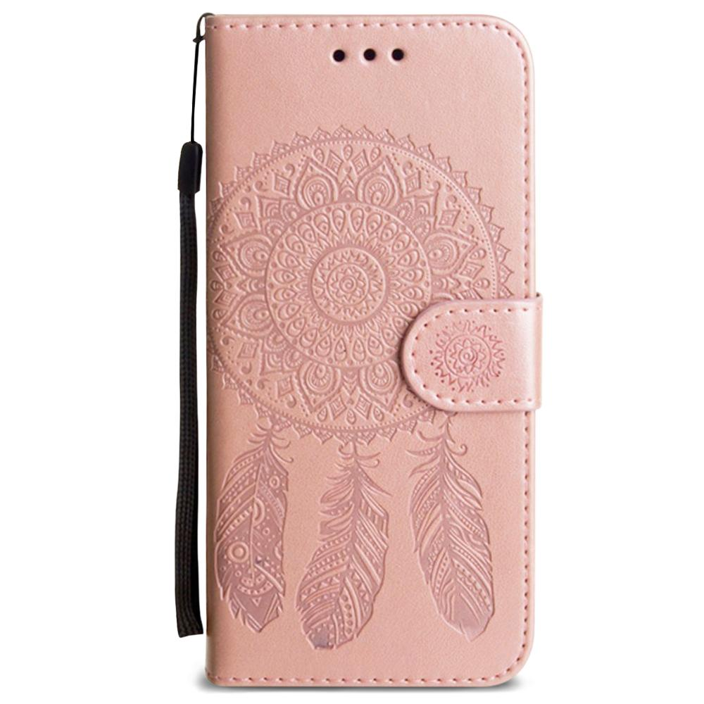 - Embossed Dream Catcher Design Wallet Case with Detachable Matching Case and Wristlet, Rose Gold for Galaxy S6