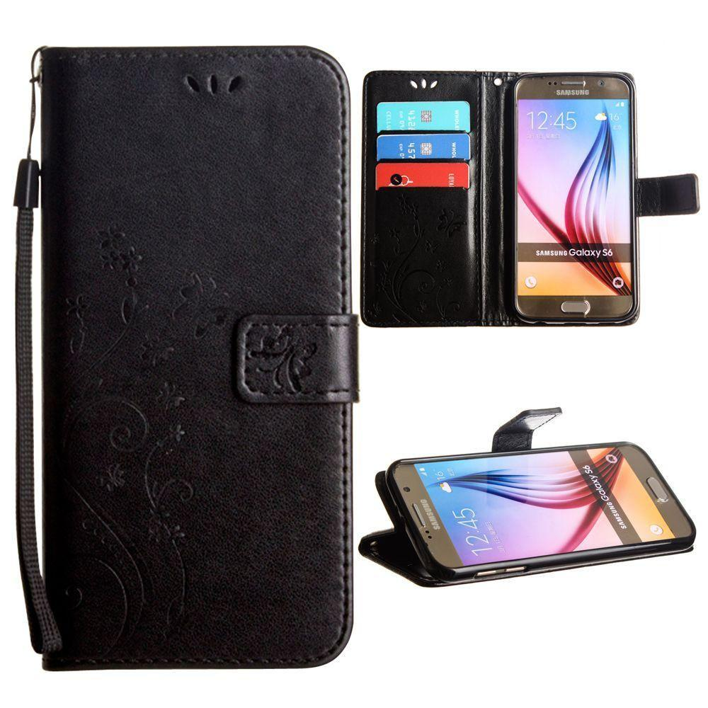 - Embossed Butterfly Design Leather Folding Wallet Case with Wristlet, Black for Galaxy S6