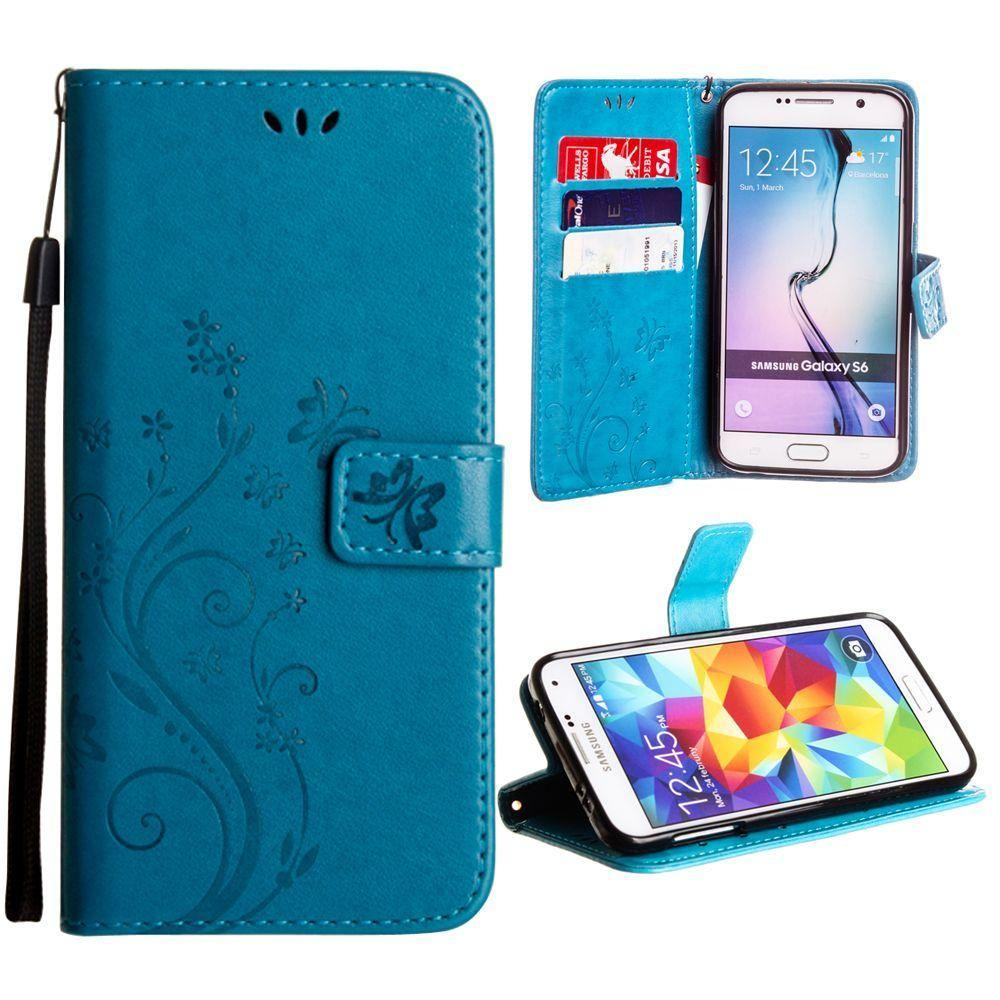 - Embossed Butterfly Design Leather Folding Wallet Case with Wristlet, Teal for Galaxy S6